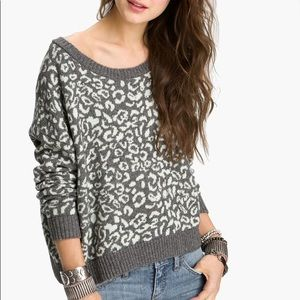 Free People Cropped Leopard Pullover Sweater